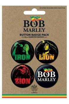 Plakietki zestaw BOB MARLEY - iron lion zion