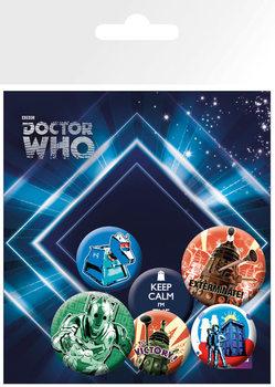 Plakietki zestaw DOCTOR WHO - retro