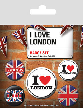 Plakietki zestaw I Love London