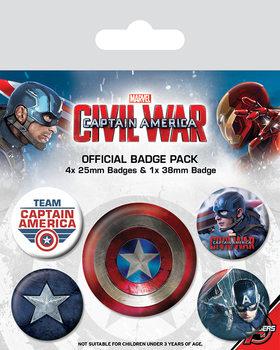 Plakietki zestaw Kapitan Ameryka: Wojna bohaterów - Captain America