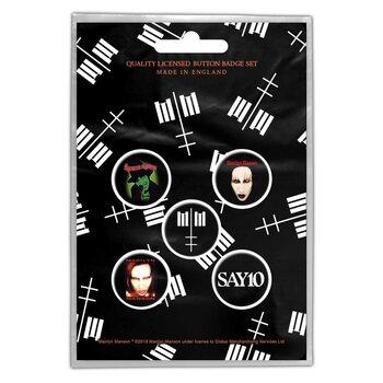 Plakietki zestaw Marilyn Manson - Cross Logo