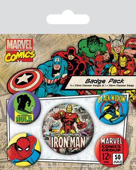 Plakietki zestaw Marvel Retro - Iron Man