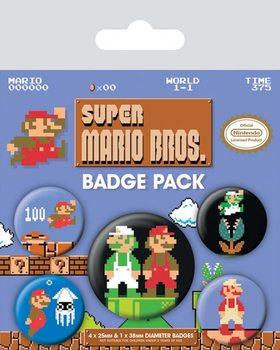 Plakietki zestaw Super Mario Bros. - Retro