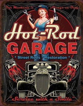 Plaque en métal Hot Rod Garage - Pistons