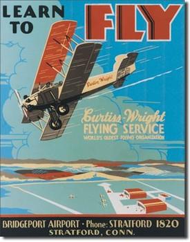 Plaque en métal LEARN TO FLY
