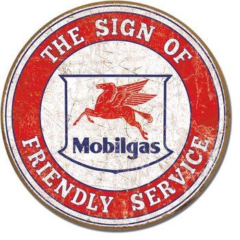 Plaque en métal Mobil - Friendly Service