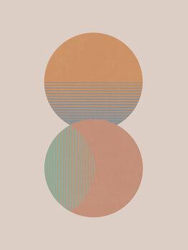 Slika na platnu Circle Sun & Moon Colour