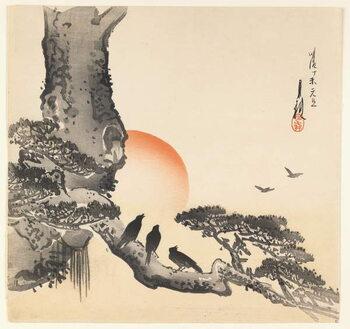 Slika na platnu Crows on a Tree Trunk