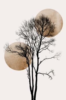 Slika na platnu Sun and Moon hiding GOLD