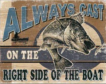 Plechová cedule ALWAYS CAST - Walleye