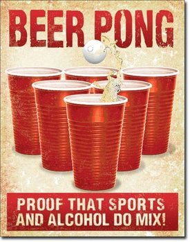 Plechová ceduľa Beer Pong