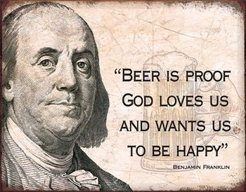 Plechová ceduľa  Ben Franklin - Beer