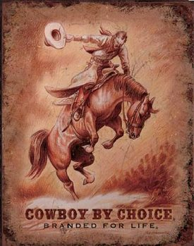Plechová cedule CBC - SADDLE BRONC - Saddle Bronc