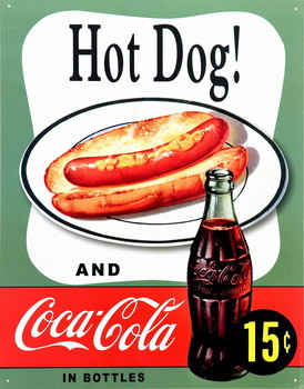Plechová cedule COKE HOT DOG