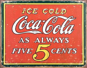 Plechová cedule COKE VINTAGE 5 CENTS