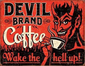 Plechová ceduľa Devil Brand Coffee