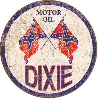 Plechová cedule DIXIE GAS - Weathered Round