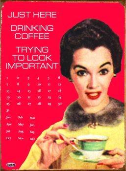 Plechová cedule DRINKING COFFEE