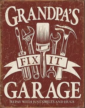 Plechová cedule Grandpa's Garage