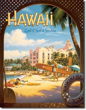 Plechová cedule HAWAII SUN ADN SURF