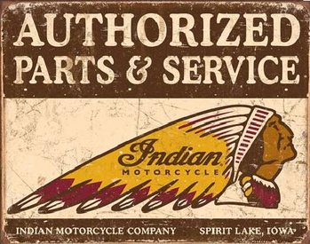 Plechová ceduľa  Indian motorcycles - Authorized Parts and Service