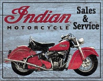 Plechová cedule INDIAN MOTORCYCLES - Parts and Service