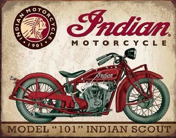 Plechová ceduľa  INDIAN MOTORCYCLES - Scout Model 110