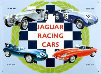 Plechová cedule JAGUAR RACING CARS COLLAGE
