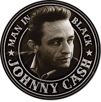 Plechová cedule Johnny Cash - Man in Black Round