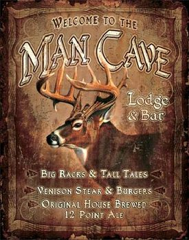 Plechová ceduľa JQ - Man Cave Lodge