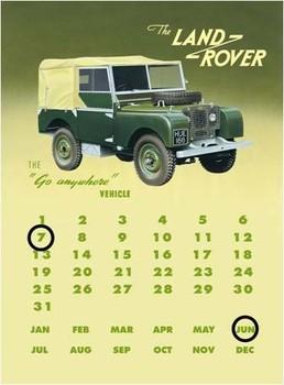 Plechová cedule Land rover series 1 calendar