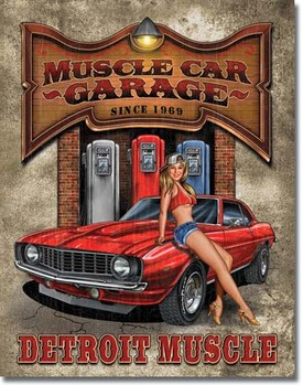 Plechová cedule LEGENDS - muscle car garage