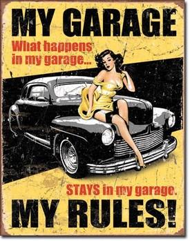 Plechová cedule  LEGENDS - my garage