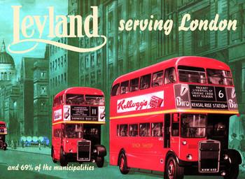 Plechová cedule Leyland bus