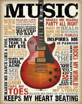 Plechová cedule MUSIC - Inspires Me