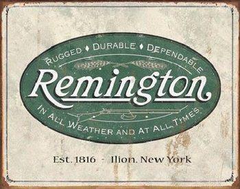 Plechová cedule REM - weathered logo
