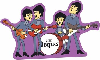 Plechová cedule SHAPED BEATLES CARTOON