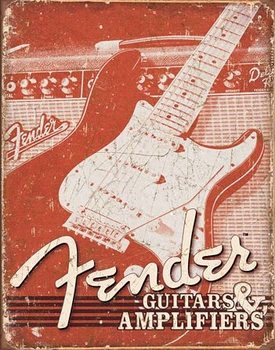 Plechová ceduľa Fender - Weathered G&A