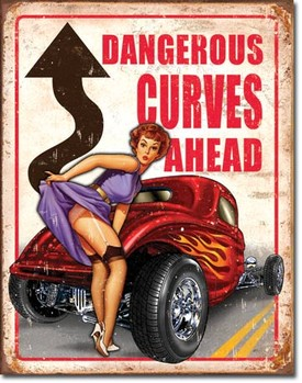 Plechová ceduľa LEGENDS - dangerous curves