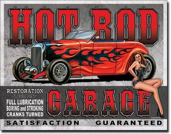 Plechová ceduľa LEGENDS - hot rod garage