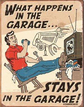 Plechová ceduľa SCHONBERG - What Happens in Garage