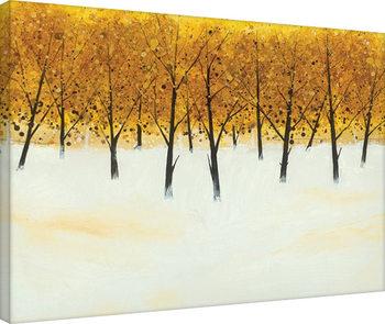 Stuart Roy - Yellow Trees on White Obraz na płótnie