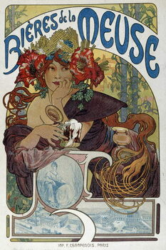 "Obraz na płótnie Advertising poster for """" Les bieres de la Meuse"""" illustrated by Alphonse Mucha  1898 Paris, Decorative Arts"