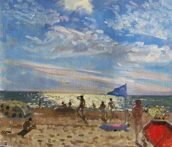 Obraz na płótnie Blue flag and red sun shade, Montalivet