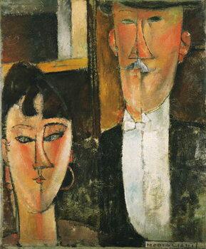 Obraz na płótnie Bride and Groom - Peinture de Amedeo Modigliani (1884-1920) - 1915-1916 - Oil on canvas - 55x46 -  Museum of Modern Art