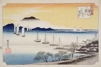 Obraz na płótnie Returning Sails at Yabase, from the series, '8 views of Omi', c.1834