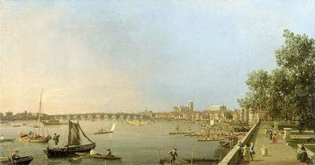 Obraz na płótnie The Thames from the Terrace of Somerset House, looking upstream Towards Westminster and Whitehall, c.1750