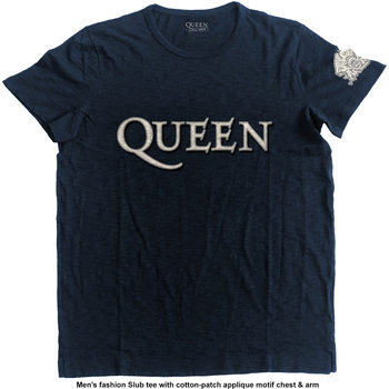 Queen - Logo & Crest Applique Slub Póló