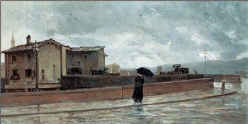Ponte alle Grazie - Woman Crossing the Bridge, 1881 Festmény reprodukció