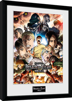 Attack on Titan Season 2 - Collage Key Art Inramad poster